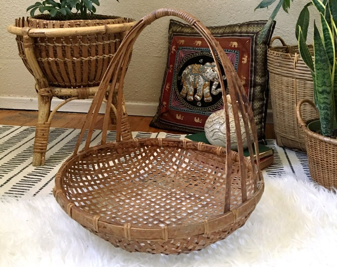 "Large 15"" Bohemian Round Woven Rattan Basket with Tall Handle"