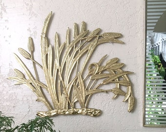 Vintage Solid Brass Cattail Typha Plant Wall Hanging Plaque