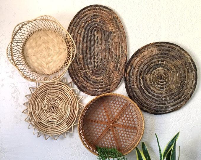 Vintage Oval Brown Woven Wicker Basket / Trivet / Placemat / Wall Art