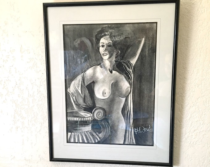 Framed Vintage Nude Naked Lady Charcoal Artwork - signed