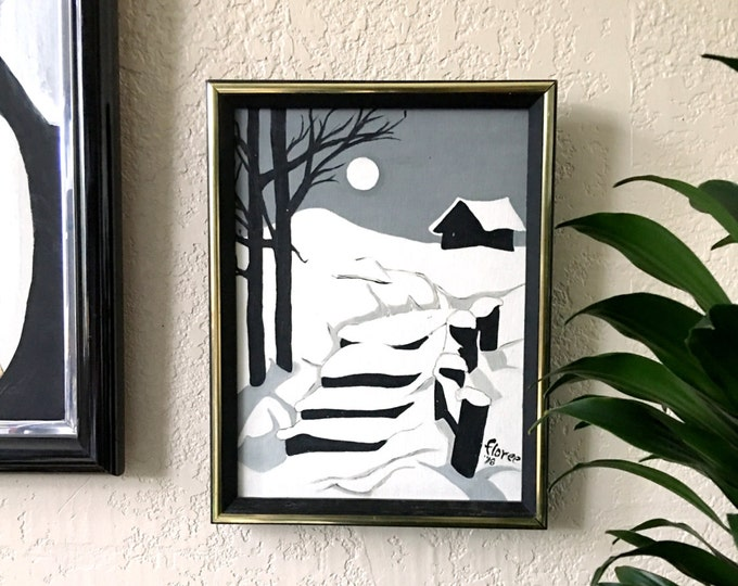Framed 1978 Snowy Path Acrylic on Canvas Painting Original Art - Signed 10x13