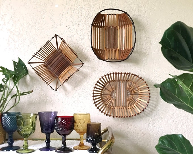 Structural Geometric Wooden Sticks Baskets - Set of Three