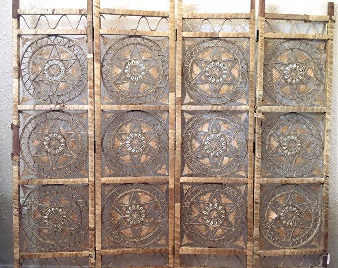Rare Bohemian Four Panel Rattan Straw Wood Ornate Seashell Room Divider /Privacy Screen