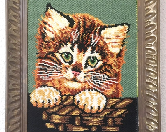 Large Vintage Cat Kitten Cross Stitch Embroidery Wall Art