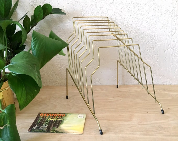 Large Vintage Gold Metal Wire File Sorter