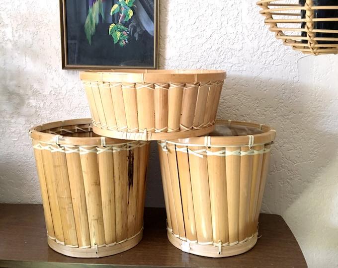 Vintage Bamboo Rattan Slatted Basket / Planter / Wastebasket - MULTIPLE SELECTIONS