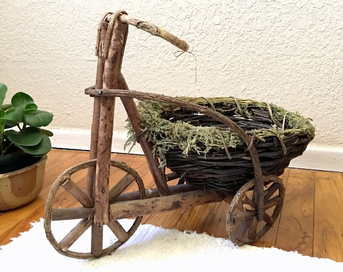 Vintage Wooden Tricycle Planter Display