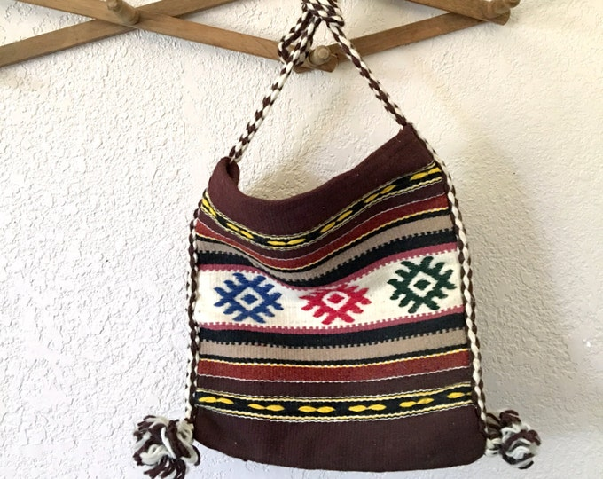 Boho Tribal Wool Cotton Blend Shoulder Bag / Purse / Crossbody