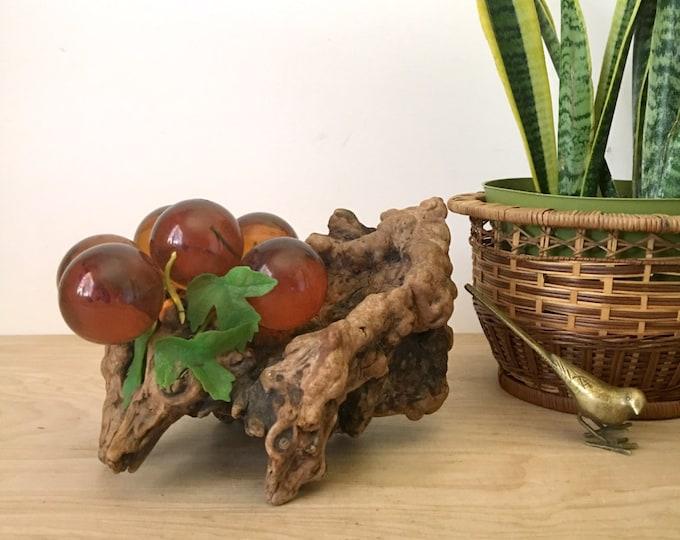Vintage Amber Orange Lucite Grapes on Burl Wood