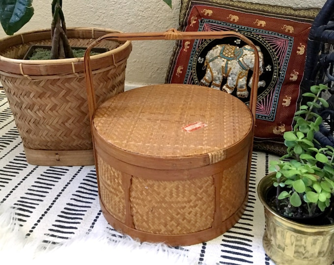 Large Vintage Woven Rattan Bamboo Basket with Lid and Long Handle