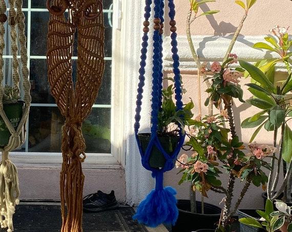 Long Vintage Beaded Bright Blue Hanging Macramé Planter Pot Holder