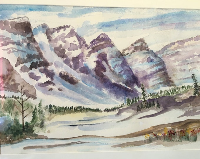 Large Vintage Mountainscape Watercolor Framed Signed Original Art