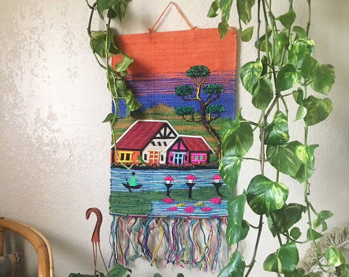 Colorful House on River Scene Woven Rag Rug Wall Hanging Tapestry