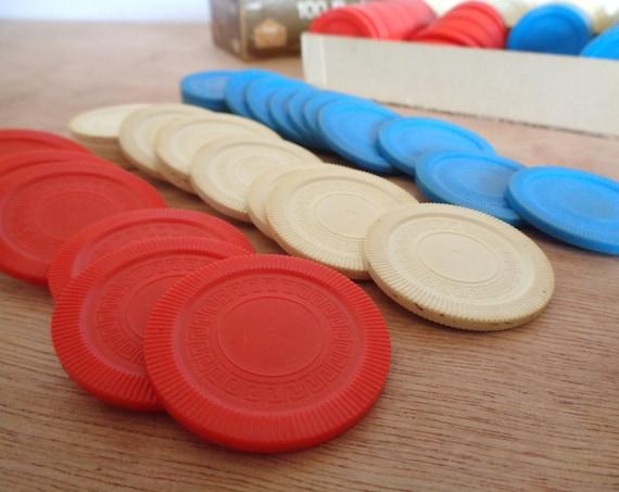 Vintage 1974 Red White Blue Poker Chips by Milton Bradley Set of 200