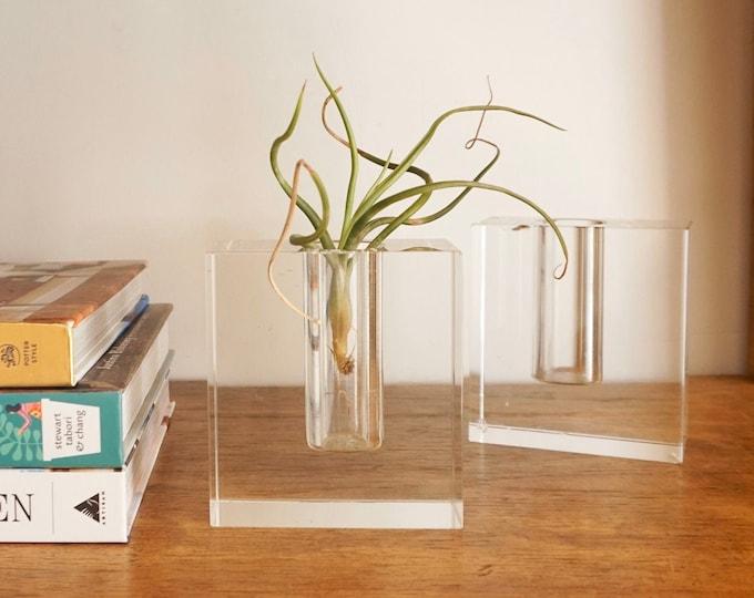 Vintage Solid Glass Square Bud Vase