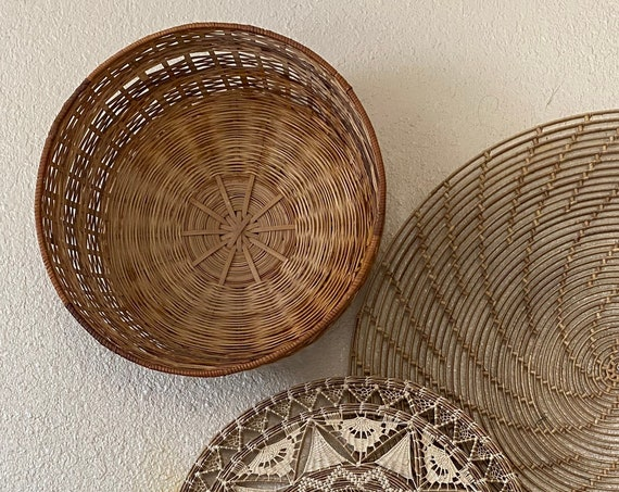 Large Wide Short Woven Wicker Basket / Fruit Bowl / Tray