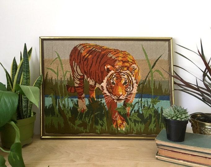 Large Vintage Framed Tiger Jungle Needlepoint Cross Stitch Art
