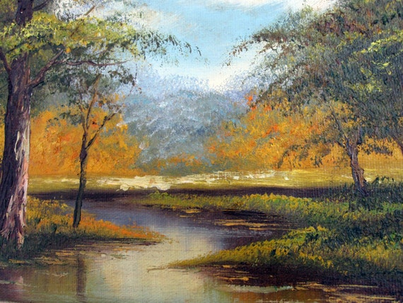 Vintage Original Art Oil Painting Natural Forest River Stream Landscape