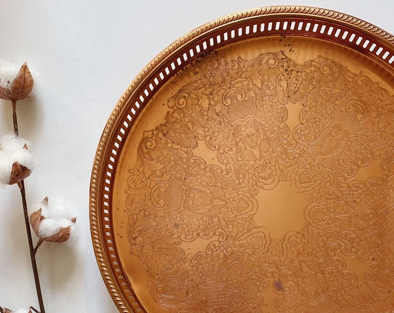 "Vintage 14"" Round Coppercraft Guild Copper Etched Tray / Platter"