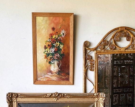 Vintage Floral Bouquet Acrylic Painting on Brown Wood Frame