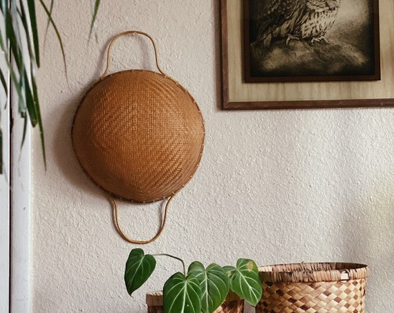 Round Split Rattan Woven Basket with Long Wooden Handles - Boho Bohemian Primitive Style