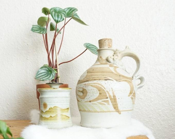 Large Vintage Ceramic Jug with Cork Lid