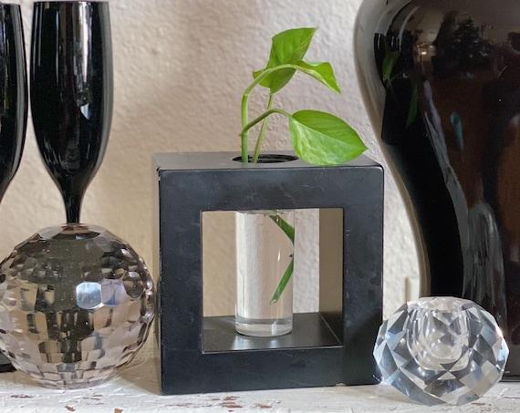 Square Black Vase with Glass Tube Bud Vase / Propagation Station