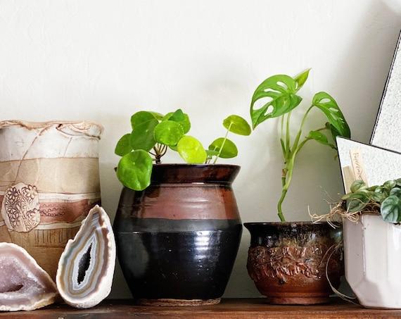 Tapered 1993 Black & Rust Brown Glazed Ceramic Planter Pot / Vase / Vessel