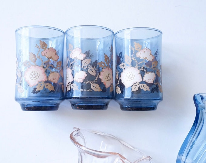 Vintage Libbey Franco Blue Glass Cups with Pink Floral Motif - Set of 3