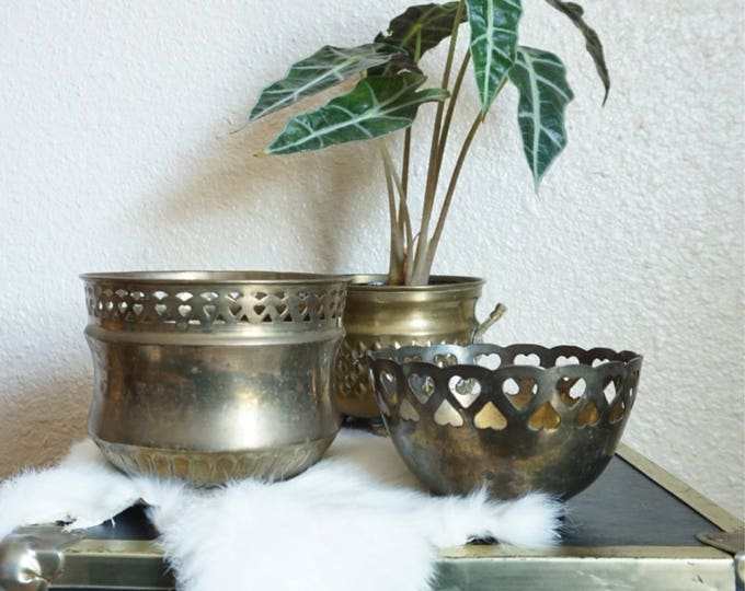 Vintage Laser Cut Heart Brass Planter / Pot / Bowl - Multiple Selection