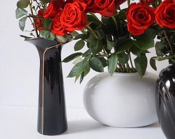 Tall Elegant Black Vase with Gold Swirl Design