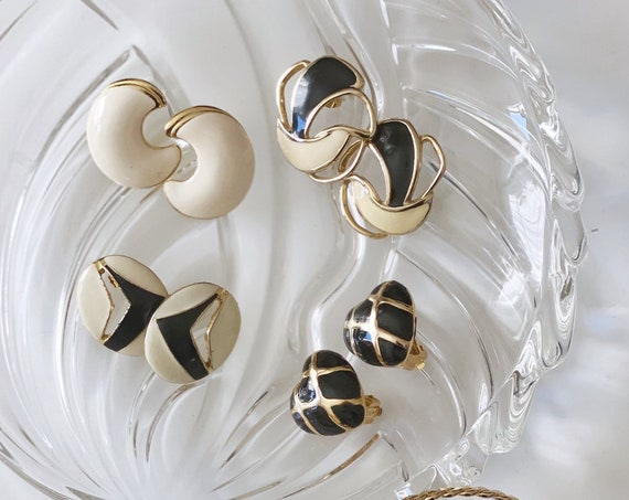 Classic black white and gold stud enamel earrings - Various styles