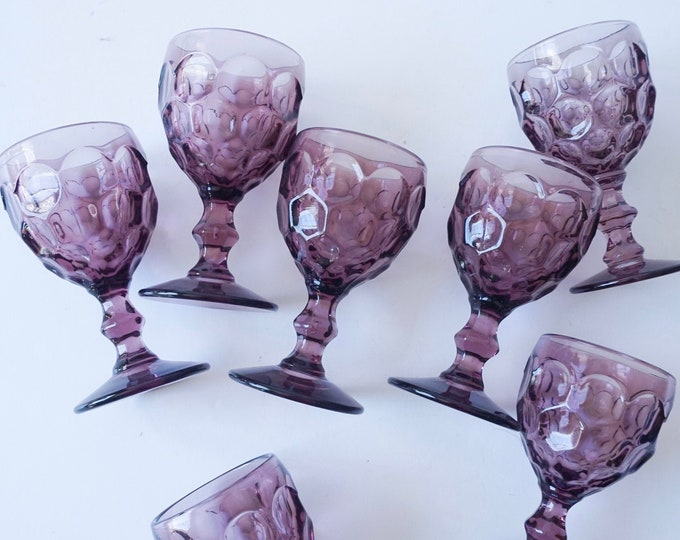 Vintage Purple Amethyst Imperial Provincial Honeycomb Thumbprint Design Small Glass Goblets - Set of 8