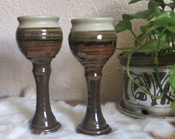 Tall Vintage Brown Gradient Ceramic Goblets - Set of 2