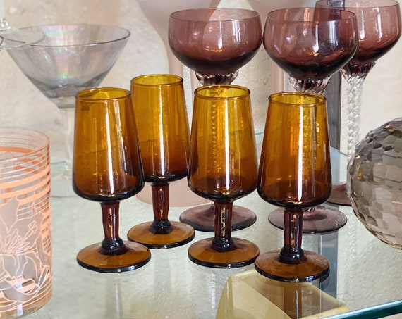 Mid Century Amber Orange Cordial Glass Shot Cups - Set of 4