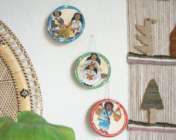 Round Colorful Handpainted Folk Art People Drum Wall Hangings - Set of 3