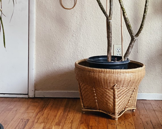 Primitive Style Large Wide Woven Rattan Basket / Storage / Planter Pot - Squared Base