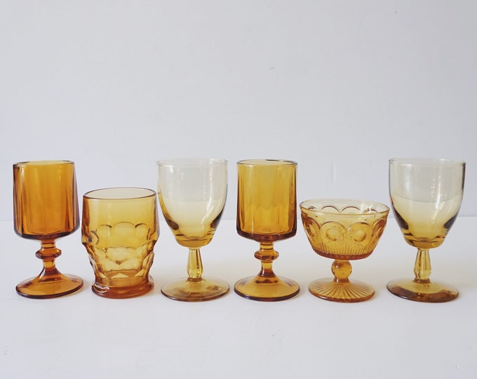Mixed Amber Colored Glass Stemware Cup Set - Set of 6 - Instant Collection