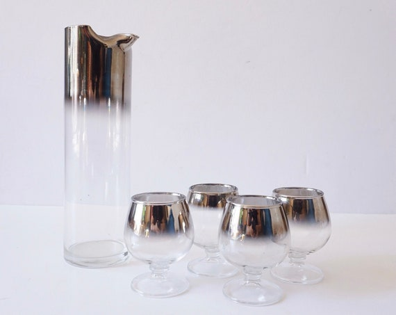 Mid Century Silver Ombre Clear Glass Shot Glass Cup Set with Matching Pitcher