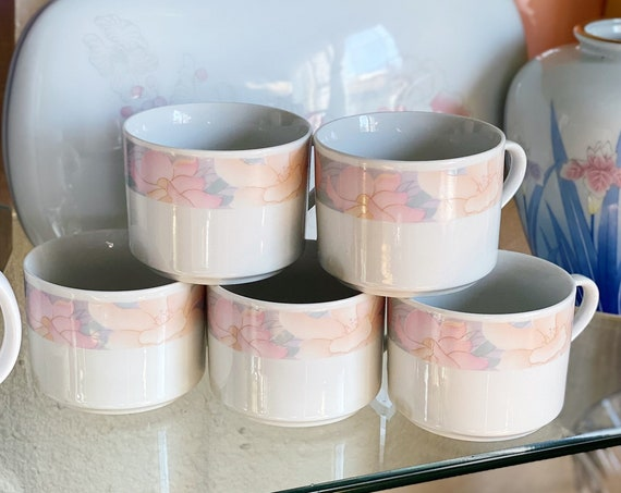 1990 Sara China Pearl The Artland Collection Pastel Flower Mug Cup Set