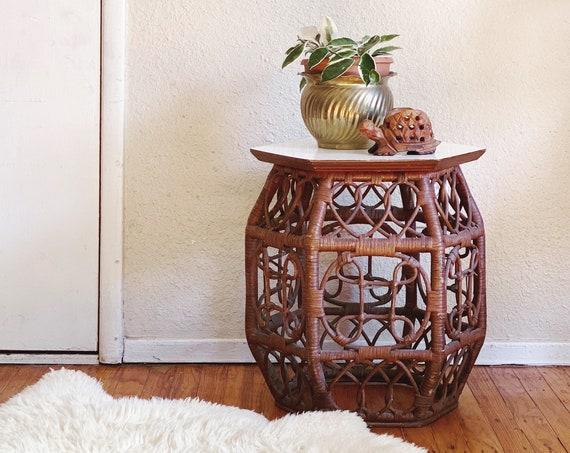 Bohemian Style Ornate Chinoiserie Design Dark Brown White Top Rattan Table