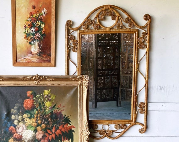 Large Vintage Wrapped Rattan Mirror with Scrolls Detailing