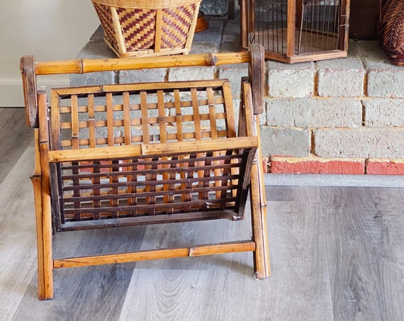 Large Slatted Bamboo Rattan Magazine Holder / Rack