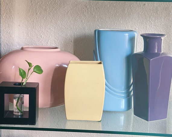 Squared Pastel Yellow Royal Haeger Flower Vase - Post Modernist Deco Pop Decor