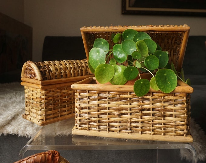 Pair of Two Woven Wicker Nesting Basket / Trunk / Chest