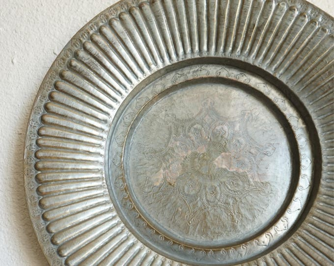 """Vintage Etched Sunburst Brass Mixed Metal Wall Hanging Tray / Plate - Elephant Design - 21"""""""
