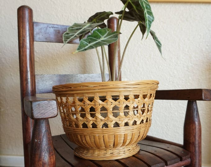 Bohemian Wicker Pedestal Basket / Planter / Pot with Ornate Weaving