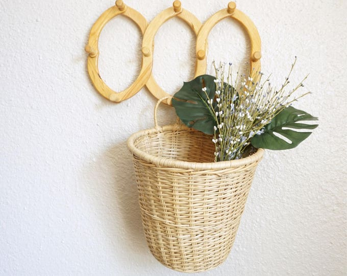 Large Light Beige Wicker Basket with Two Loops / Hanging Wall Basket
