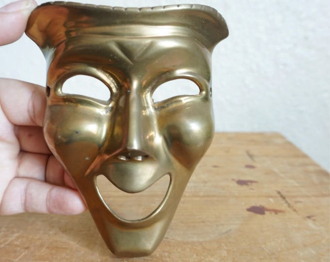 Vintage Solid Brass Theater Happy Smiling Face Mask
