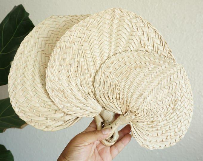 Vintage Woven Straw Raffia Fan - Small / Medium / Large sizes -